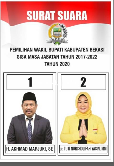 Contoh surat suara Pemilihan Wakil Bupati Bekasi sisa masa jabatan 2017-2022.