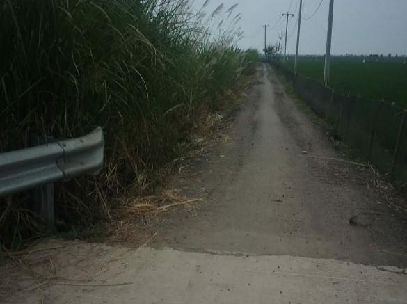 Jalan Desa Pantai Bakti akses menuju Jembatan Jokowi sudah rusak lantaran dilintasi Excavator.