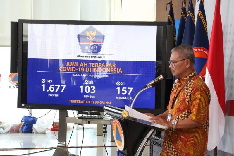 Juru Bicara Pemerintah untuk Penanganan Covid-19 Achmad Yurianto dalam konferensi pers di Graha Badan Nasional Penanggulangan Bencana (BNPB) Jakarta, Rabu (1/4).