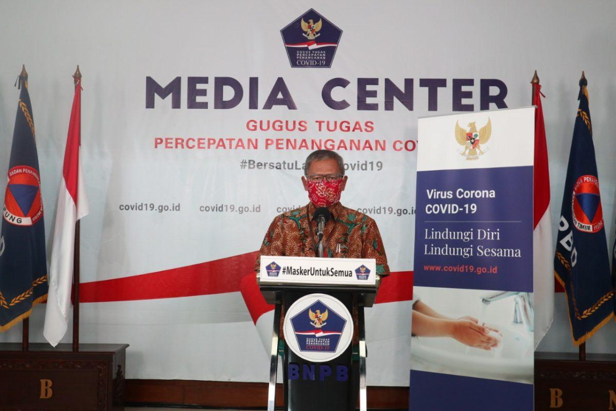 Juru Bicara Pemerintah untuk COVID-19 Ahmad Yurianto di Media Center Gugus Tugas Percepatan dan Penanganan COVID-19, Gedung Graha Badan Nasional Penanggulangan Bencana (BNPB), Jakarta,