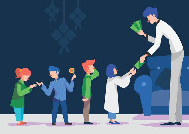 Ilustrasi : bagi bagi uang ke anak kecil saat hari raya lebaran