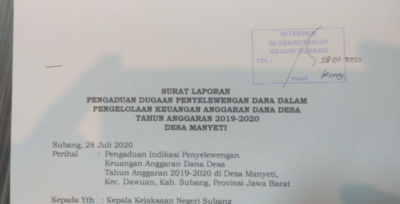 Tanda bukti laporan pengaduan sudah diterima oleh Kejari Kabupaten Subang (Foto:Nendang/potretjabar.com)